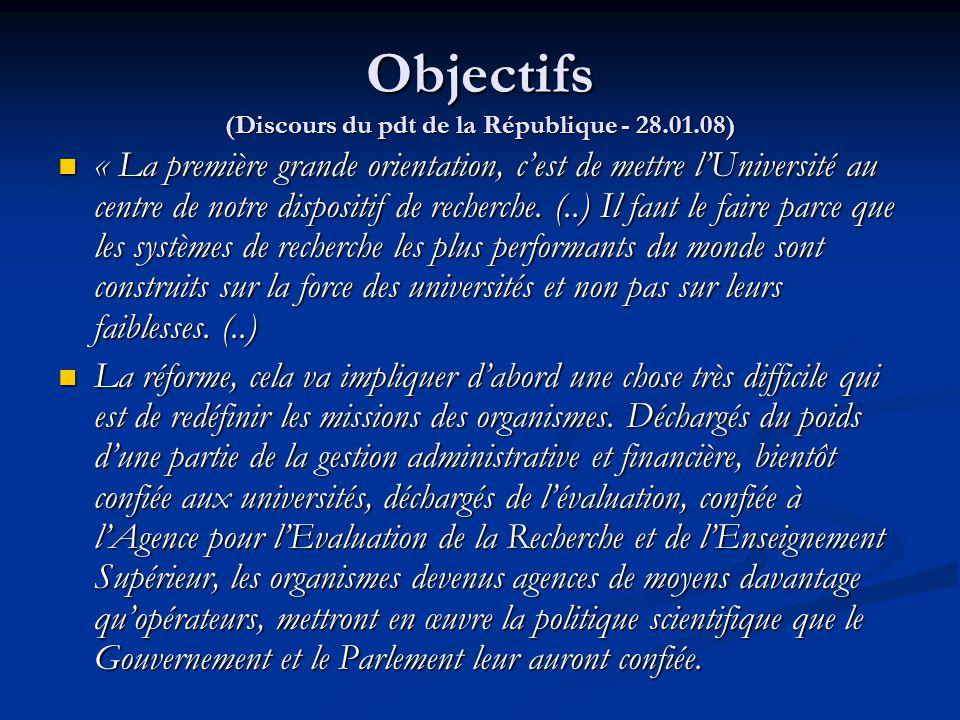Objectifs (Discours du pdt de la République - 28.01.08) « La première grande orientation, c'est de mettre l'Université au centre de notre dispositif d