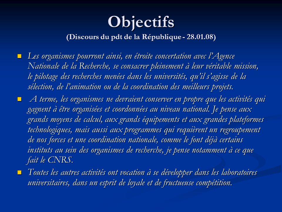 Objectifs (Discours du pdt de la République - 28.01.08) Les organismes pourront ainsi, en étroite concertation avec l'Agence Nationale de la Recherche
