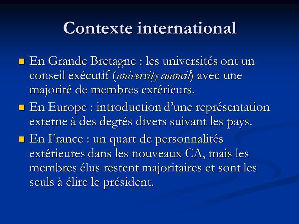 Contexte international En Grande Bretagne : les universités ont un conseil exécutif (university council) avec une majorité de membres extérieurs.