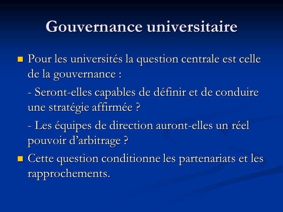 Gouvernance universitaire Pour les universités la question centrale est celle de la gouvernance : Pour les universités la question centrale est celle de la gouvernance : - Seront-elles capables de définir et de conduire une stratégie affirmée .