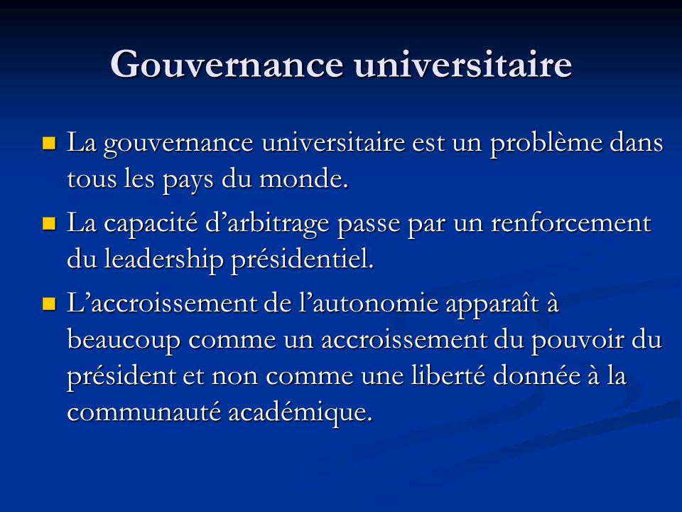 Gouvernance universitaire La gouvernance universitaire est un problème dans tous les pays du monde.