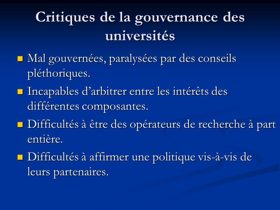 Critiques de la gouvernance des universités Mal gouvernées, paralysées par des conseils pléthoriques.