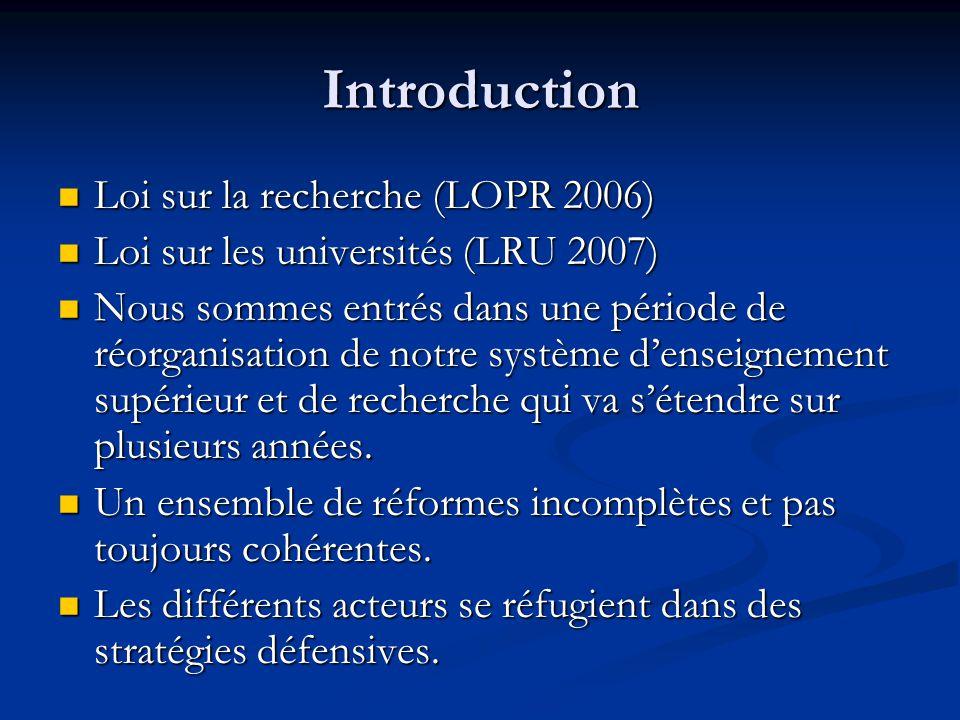 Introduction Loi sur la recherche (LOPR 2006) Loi sur la recherche (LOPR 2006) Loi sur les universités (LRU 2007) Loi sur les universités (LRU 2007) Nous sommes entrés dans une période de réorganisation de notre système d'enseignement supérieur et de recherche qui va s'étendre sur plusieurs années.