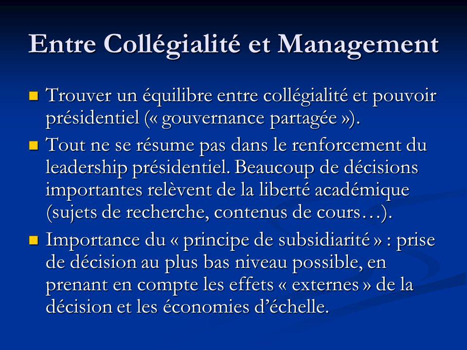 Entre Collégialité et Management Trouver un équilibre entre collégialité et pouvoir présidentiel (« gouvernance partagée »).