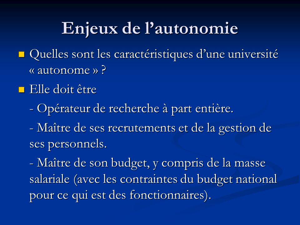Enjeux de l'autonomie Quelles sont les caractéristiques d'une université « autonome » .