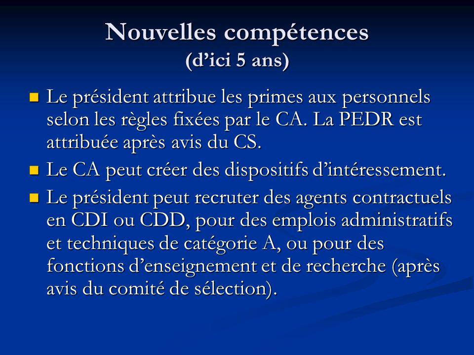 Nouvelles compétences (d'ici 5 ans) Le président attribue les primes aux personnels selon les règles fixées par le CA.