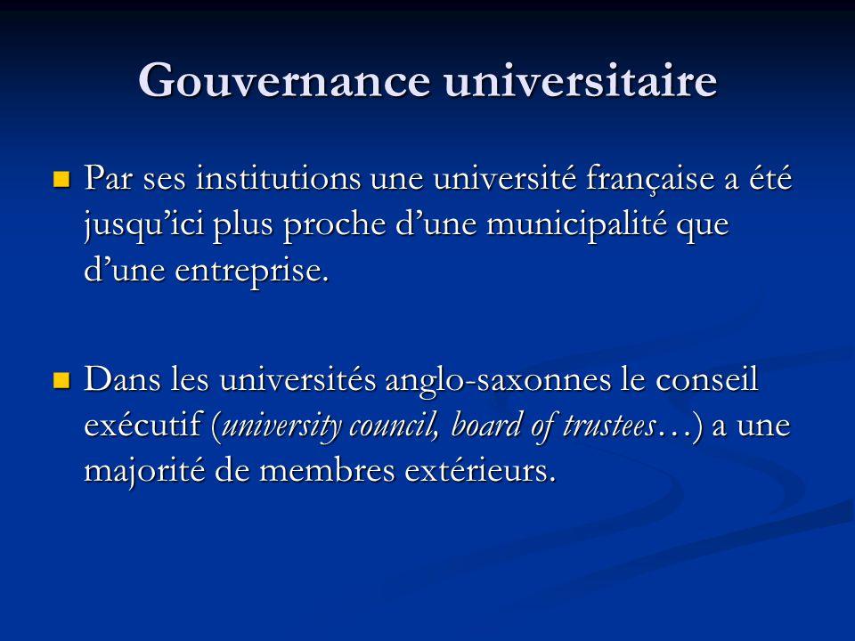 Gouvernance universitaire Par ses institutions une université française a été jusqu'ici plus proche d'une municipalité que d'une entreprise.