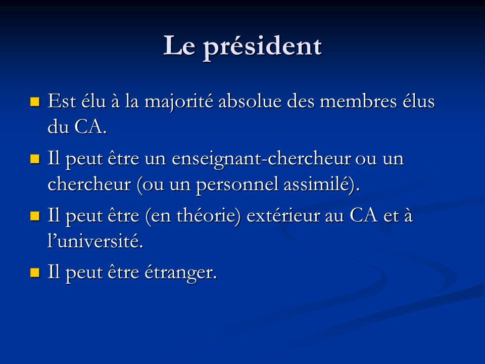 Le président Est élu à la majorité absolue des membres élus du CA.