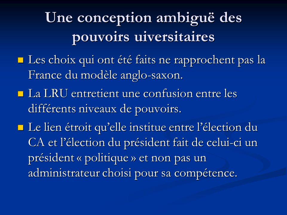 Une conception ambiguë des pouvoirs uiversitaires Les choix qui ont été faits ne rapprochent pas la France du modèle anglo-saxon.