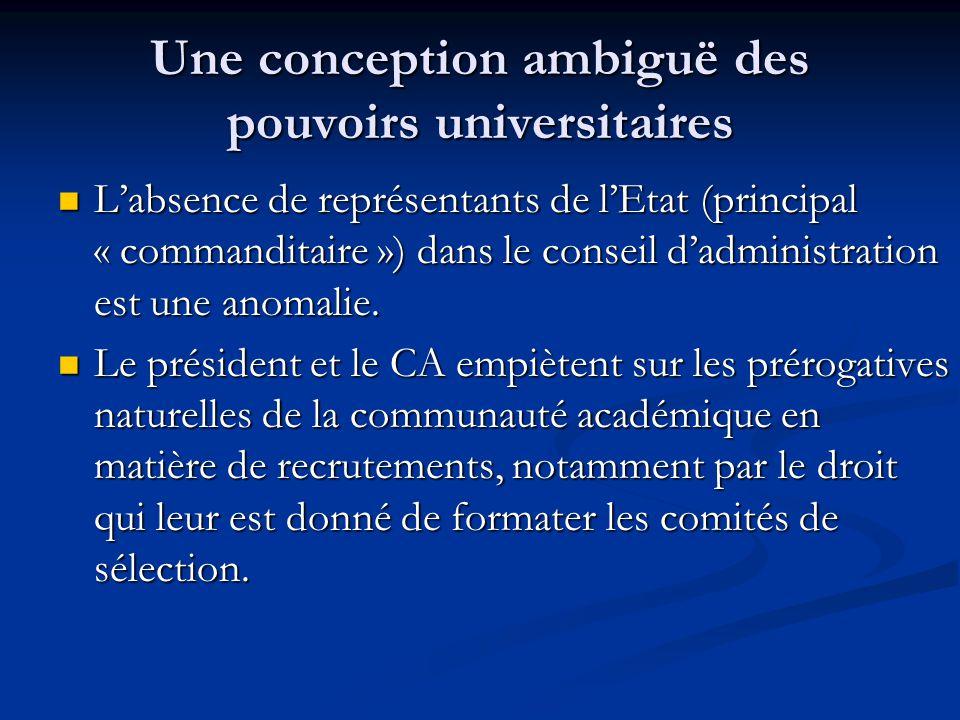 Une conception ambiguë des pouvoirs universitaires L'absence de représentants de l'Etat (principal « commanditaire ») dans le conseil d'administration est une anomalie.