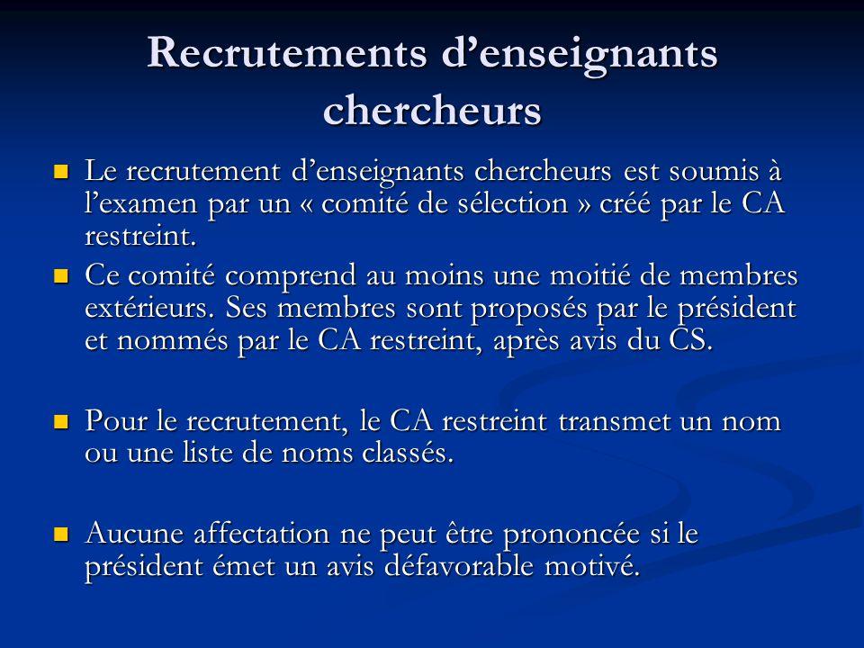 Recrutements d'enseignants chercheurs Le recrutement d'enseignants chercheurs est soumis à l'examen par un « comité de sélection » créé par le CA restreint.