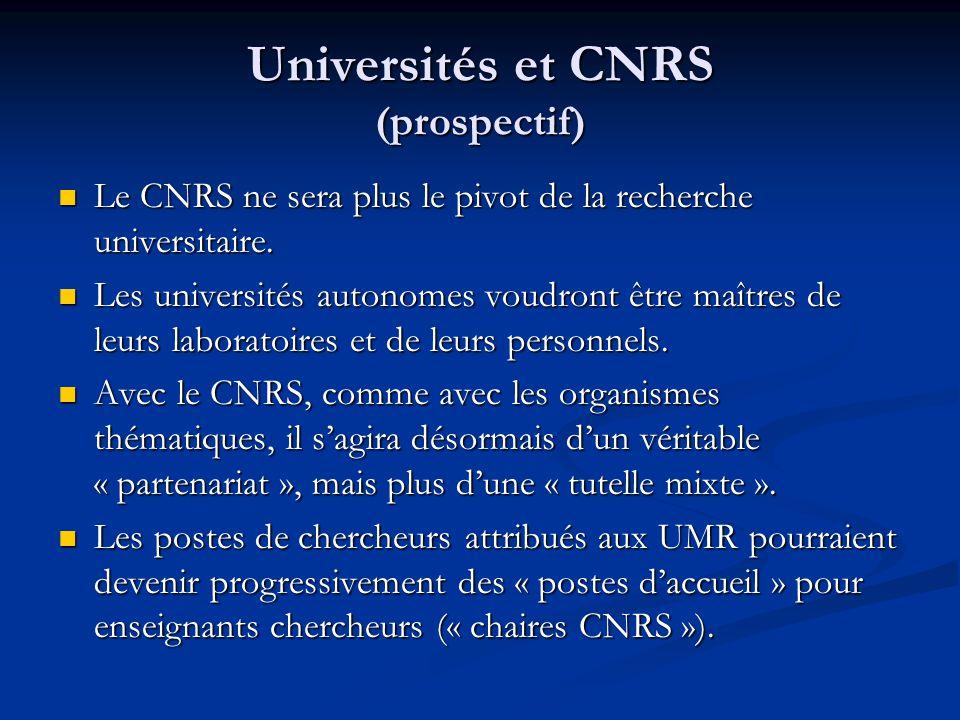 Universités et CNRS (prospectif) Le CNRS ne sera plus le pivot de la recherche universitaire.