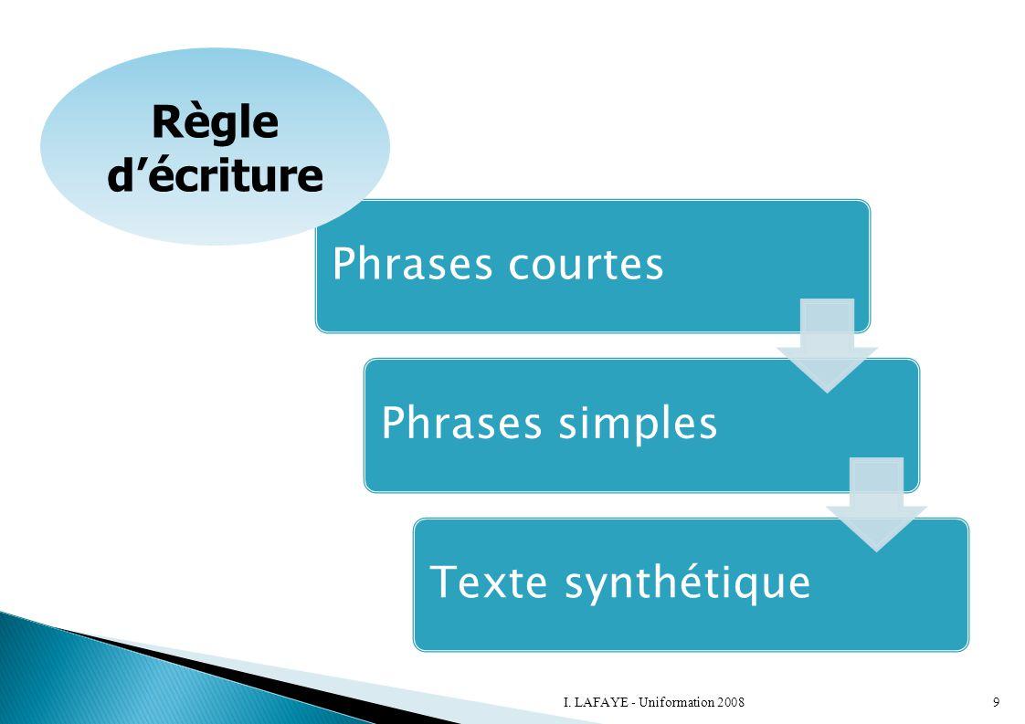 Phrases courtesPhrases simplesTexte synthétique Règle d'écriture 9I. LAFAYE - Uniformation 2008