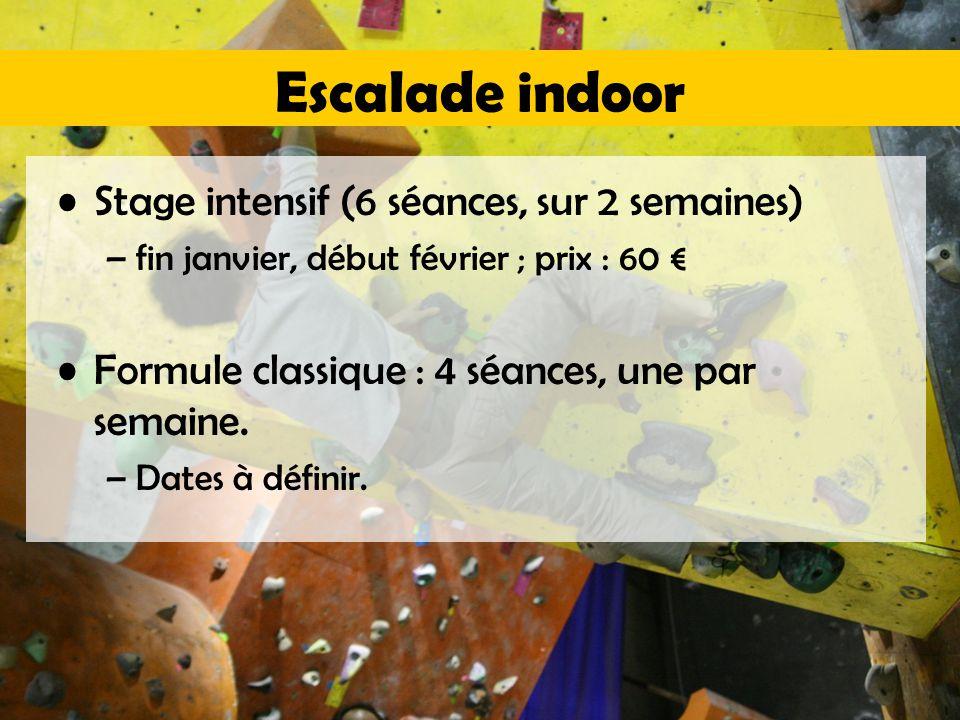 Escalade indoor Stage intensif (6 séances, sur 2 semaines) –fin janvier, début février ; prix : 60 € Formule classique : 4 séances, une par semaine.