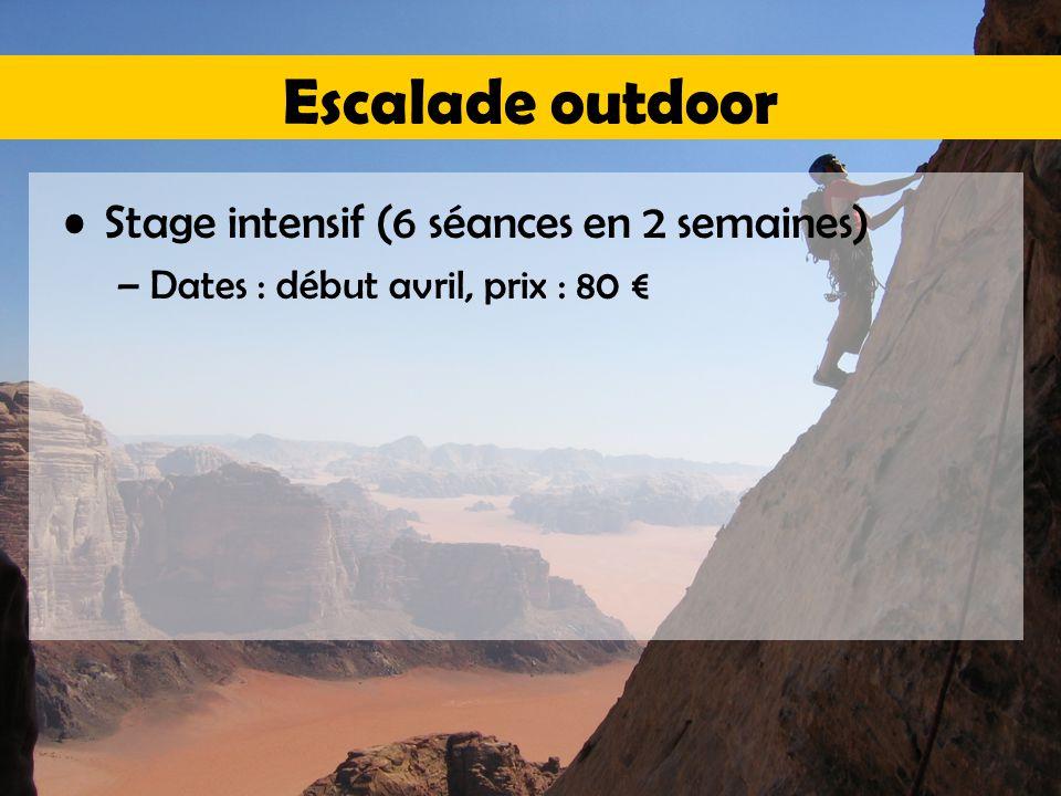 Escalade outdoor Stage intensif (6 séances en 2 semaines) –Dates : début avril, prix : 80 €