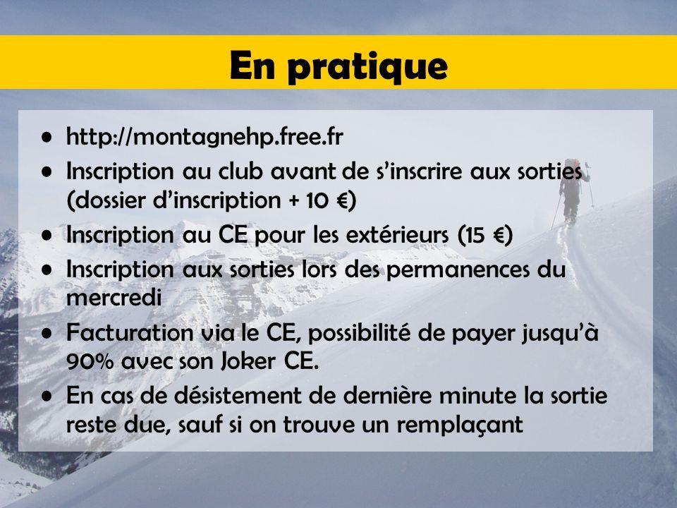 En pratique http://montagnehp.free.fr Inscription au club avant de s'inscrire aux sorties (dossier d'inscription + 10 €) Inscription au CE pour les extérieurs (15 €) Inscription aux sorties lors des permanences du mercredi Facturation via le CE, possibilité de payer jusqu'à 90% avec son Joker CE.