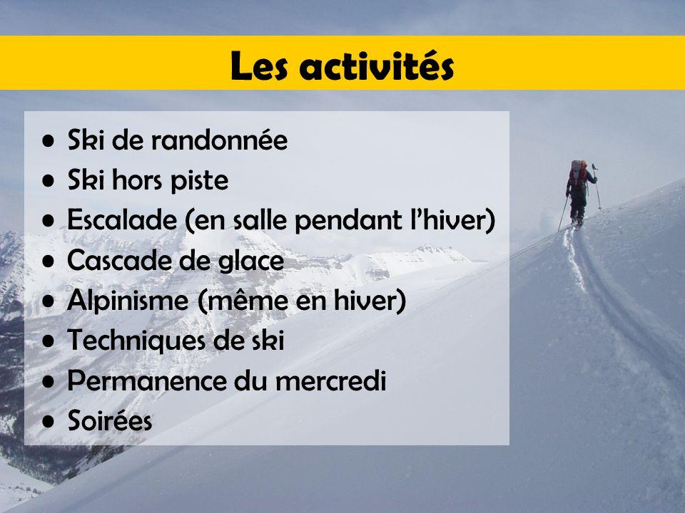 Les activités Ski de randonnée Ski hors piste Escalade (en salle pendant l'hiver) Cascade de glace Alpinisme (même en hiver) Techniques de ski Permanence du mercredi Soirées