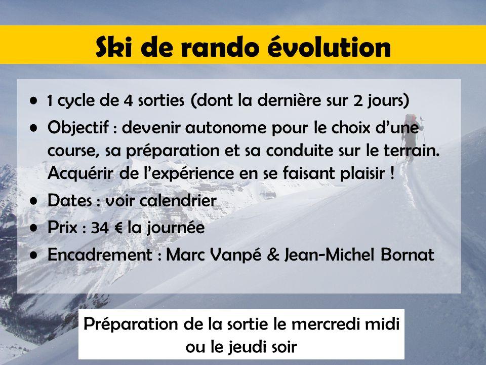 Ski de rando évolution 1 cycle de 4 sorties (dont la dernière sur 2 jours) Objectif : devenir autonome pour le choix d'une course, sa préparation et sa conduite sur le terrain.