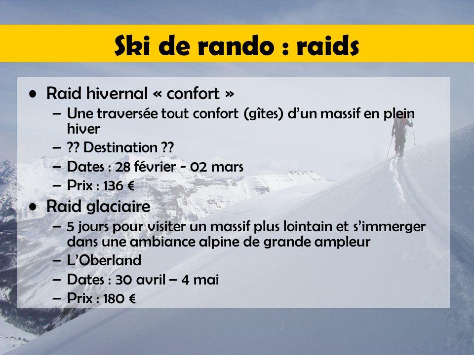 Ski de rando : raids Raid hivernal « confort » –Une traversée tout confort (gîtes) d'un massif en plein hiver –?? Destination ?? –Dates : 28 février -
