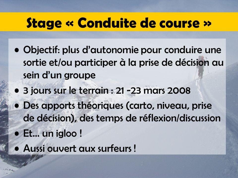 Stage « Conduite de course » Objectif: plus d'autonomie pour conduire une sortie et/ou participer à la prise de décision au sein d'un groupe 3 jours s