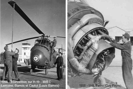 1958 - Intervention sur H-19 - MdLC Lemoine, Barrois et Cautot (Louis Barrois) 1958 - MdL Peyro (Guy Peyro)