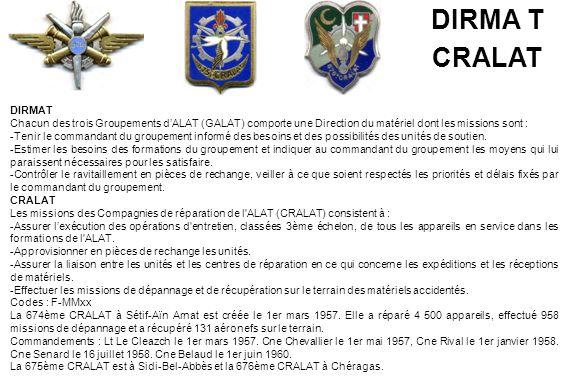 DIRMAT Chacun des trois Groupements d'ALAT (GALAT) comporte une Direction du matériel dont les missions sont : -Tenir le commandant du groupement info