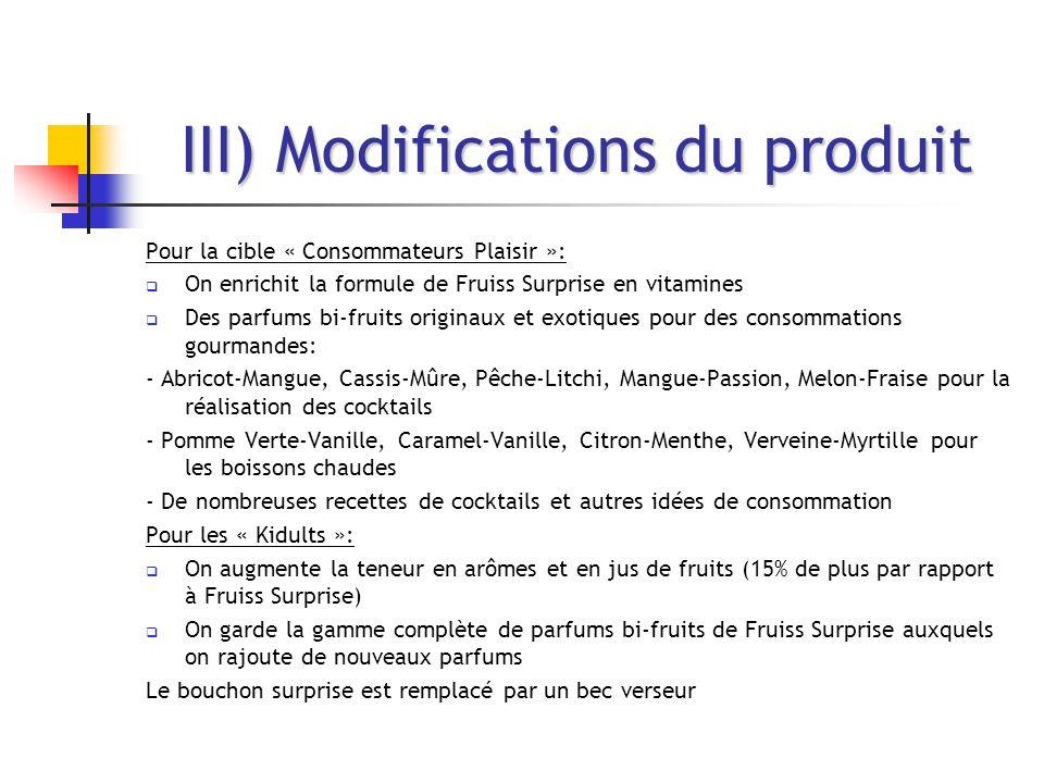 III) Modifications du produit Pour la cible « Consommateurs Plaisir »:  On enrichit la formule de Fruiss Surprise en vitamines  Des parfums bi-fruit