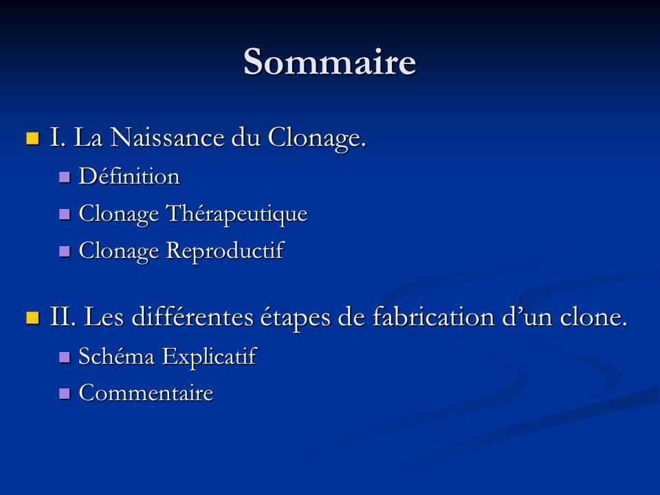 Sommaire I. La Naissance du Clonage. I. La Naissance du Clonage. Définition Définition Clonage Thérapeutique Clonage Thérapeutique Clonage Reproductif