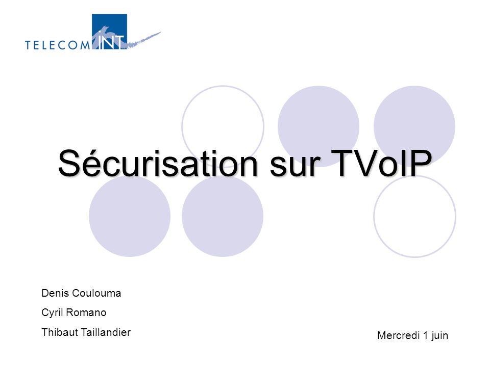 Sécurisation sur TVoIP12 Les protections - Network Sécurisation d'un flux multicast Sécurité de l'infrastructure : Se prémunir des attaques DoS exploitant les vulnérabilités des protocoles multicast (IGMP, PIM-SM, MSDP, BGMP) Sécurité applicative : authentification, intégrité, confidentialité et contrôle d'accès spécifiques au multicast Msec workgroup normalise les solutions