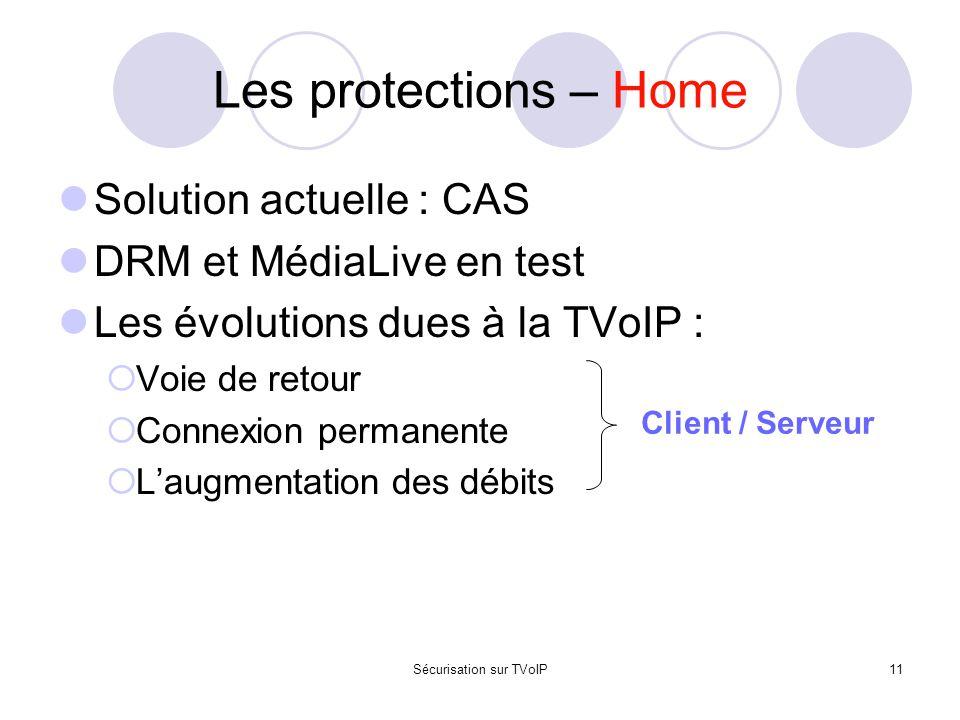 Sécurisation sur TVoIP11 Les protections – Home Solution actuelle : CAS DRM et MédiaLive en test Les évolutions dues à la TVoIP :  Voie de retour  C