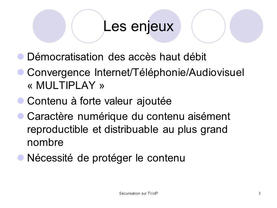 Sécurisation sur TVoIP3 Les enjeux Démocratisation des accès haut débit Convergence Internet/Téléphonie/Audiovisuel « MULTIPLAY » Contenu à forte vale