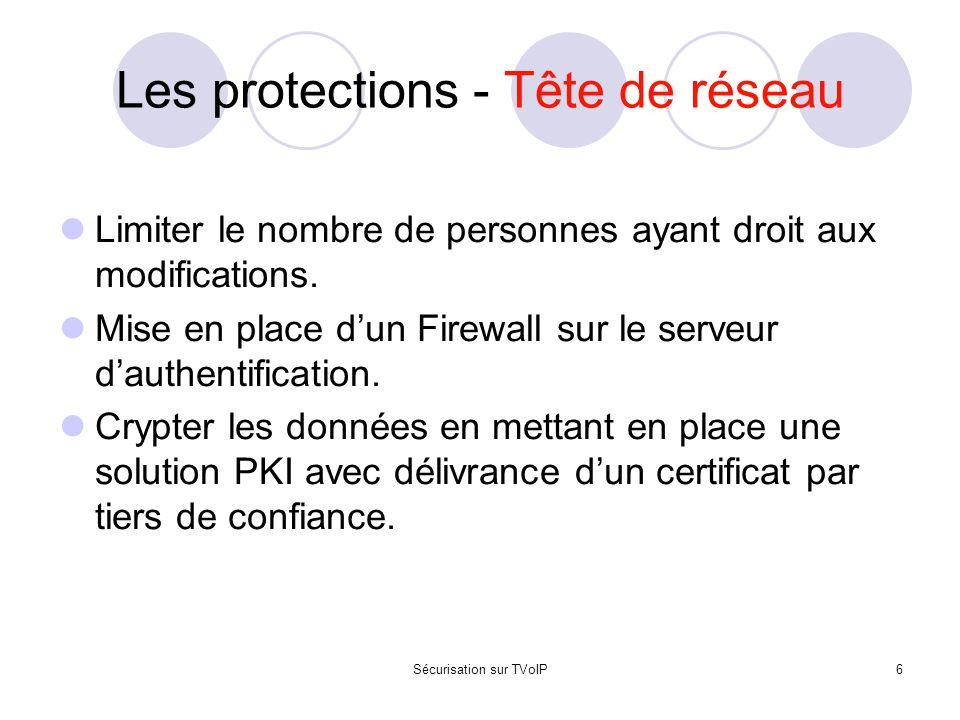 Sécurisation sur TVoIP6 Les protections - Tête de réseau Limiter le nombre de personnes ayant droit aux modifications. Mise en place d'un Firewall sur