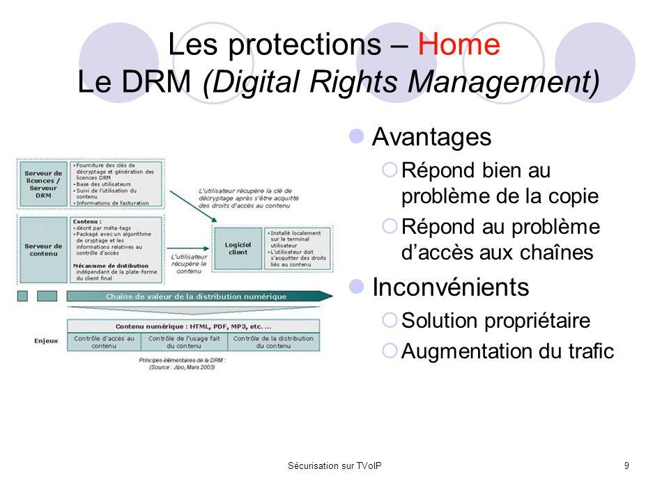Sécurisation sur TVoIP9 Les protections – Home Le DRM (Digital Rights Management) Avantages  Répond bien au problème de la copie  Répond au problème
