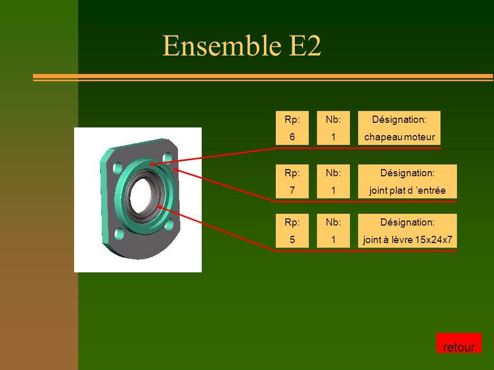 Ensemble E2 Rp: 6 Nb: 1 Désignation: chapeau moteur Rp: 7 Nb: 1 Désignation: joint plat d 'entrée Rp: 5 Nb: 1 Désignation: joint à lèvre 15x24x7 retour
