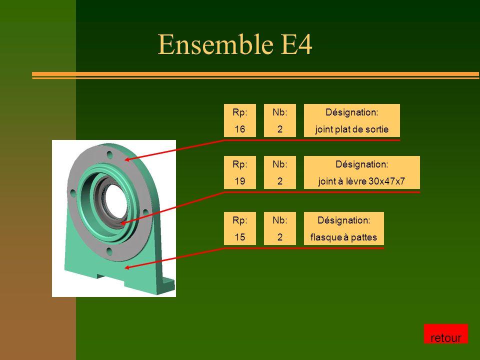 Ensemble E4 Rp: 16 Nb: 2 Désignation: joint plat de sortie Rp: 19 Nb: 2 Désignation: joint à lèvre 30x47x7 Rp: 15 Nb: 2 Désignation: flasque à pattes