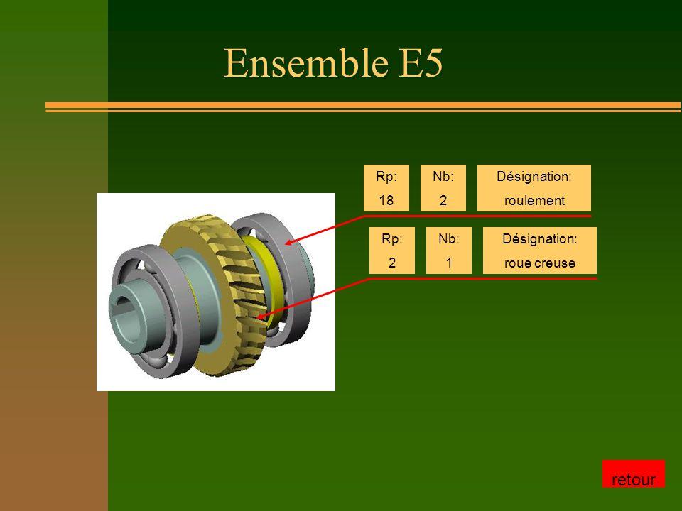 Ensemble E5 Rp: 18 Nb: 2 Désignation: roulement Rp: 2 Nb: 1 Désignation: roue creuse retour