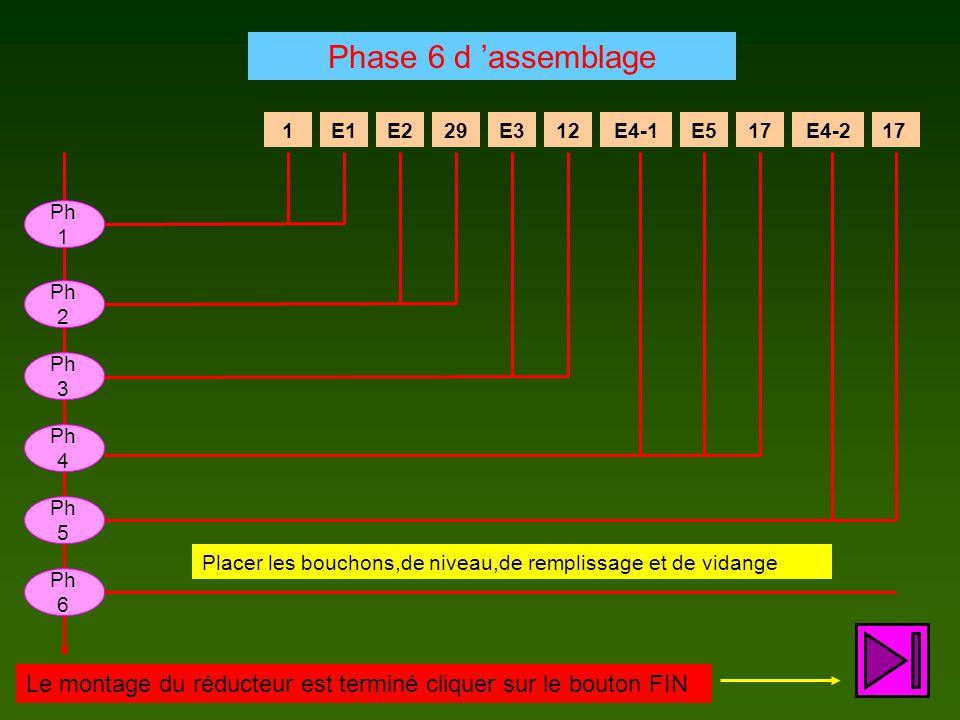E129E312E4-1E517E4-217E21 Ph 1 Placer les bouchons,de niveau,de remplissage et de vidange Ph 2 Ph 3 Ph 4 Ph 5 Phase 6 d 'assemblage Ph 6 Le montage du réducteur est terminé cliquer sur le bouton FIN