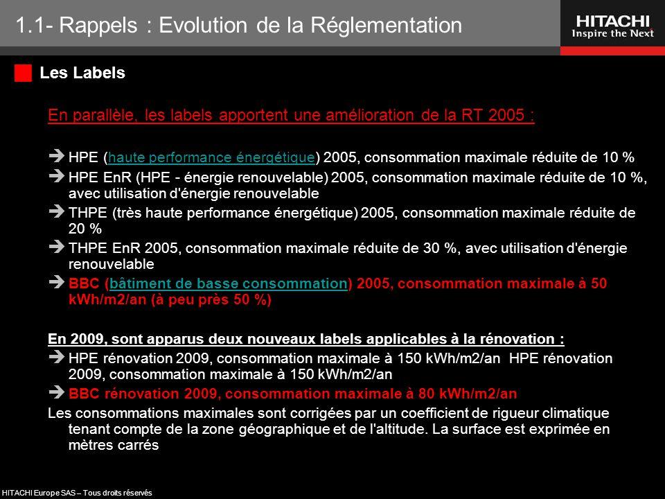HITACHI Europe SAS – Tous droits réservés  Les Labels En parallèle, les labels apportent une amélioration de la RT 2005 :  HPE (haute performance én