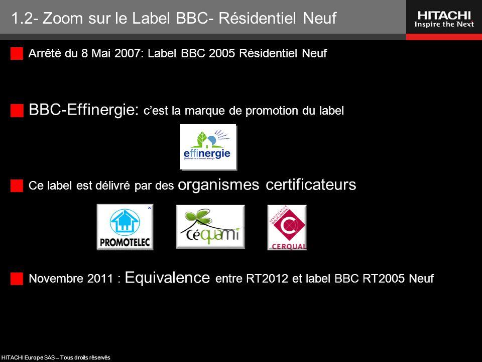 HITACHI Europe SAS – Tous droits réservés  Arrêté du 8 Mai 2007: Label BBC 2005 Résidentiel Neuf  BBC-Effinergie: c'est la marque de promotion du la