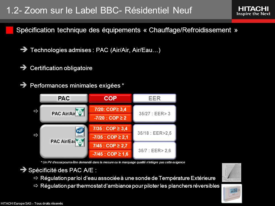 HITACHI Europe SAS – Tous droits réservés  Spécification technique des équipements « Chauffage/Refroidissement »  Technologies admises : PAC (Air/Ai