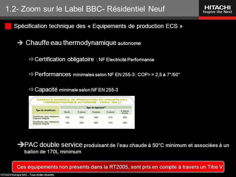 HITACHI Europe SAS – Tous droits réservés  Spécification technique des « Equipements de production ECS »  Chauffe eau thermodynamique autonome  Cer