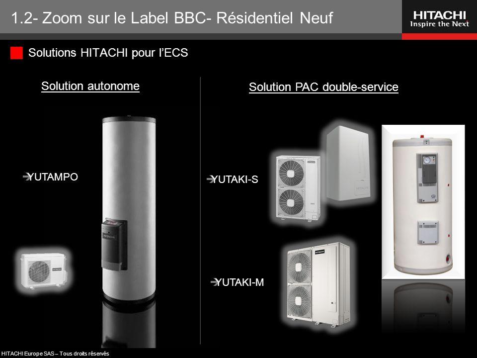 HITACHI Europe SAS – Tous droits réservés 1.2- Zoom sur le Label BBC- Résidentiel Neuf  Solutions HITACHI pour l'ECS Solution PAC double-service Solu