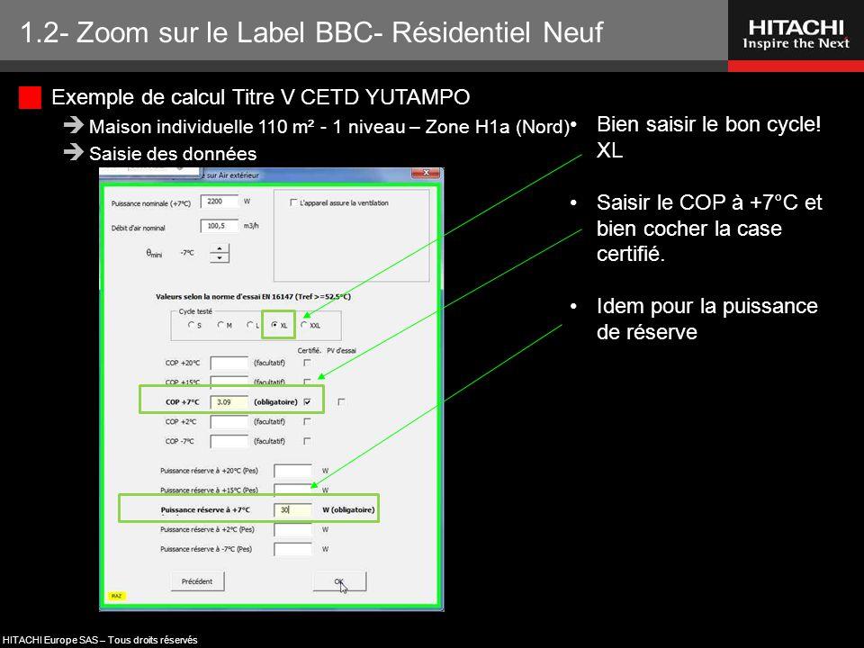 HITACHI Europe SAS – Tous droits réservés 1.2- Zoom sur le Label BBC- Résidentiel Neuf Bien saisir le bon cycle! XL Saisir le COP à +7°C et bien coche