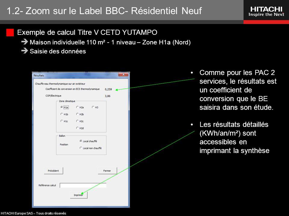 HITACHI Europe SAS – Tous droits réservés 1.2- Zoom sur le Label BBC- Résidentiel Neuf Comme pour les PAC 2 services, le résultats est un coefficient