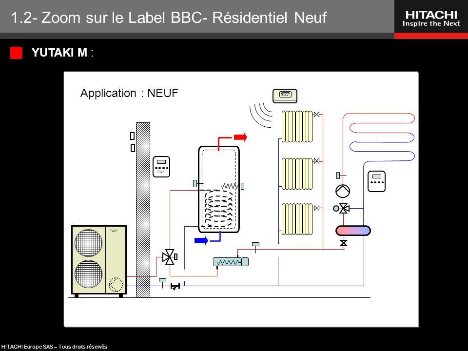 HITACHI Europe SAS – Tous droits réservés ITACHI Application : NEUF  YUTAKI M : 1.2- Zoom sur le Label BBC- Résidentiel Neuf
