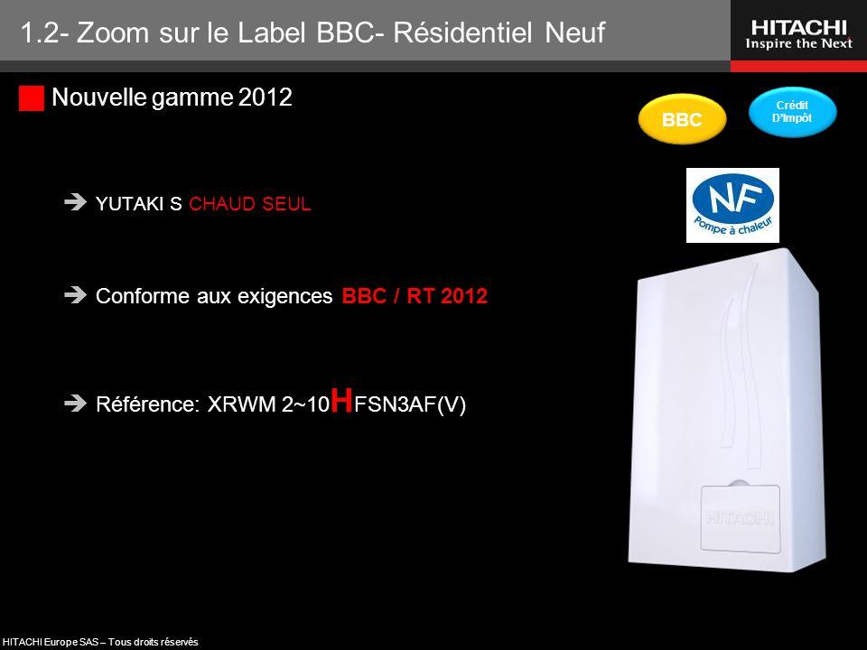 HITACHI Europe SAS – Tous droits réservés  Nouvelle gamme 2012  YUTAKI S CHAUD SEUL  Conforme aux exigences BBC / RT 2012  Référence: XRWM 2~10 H
