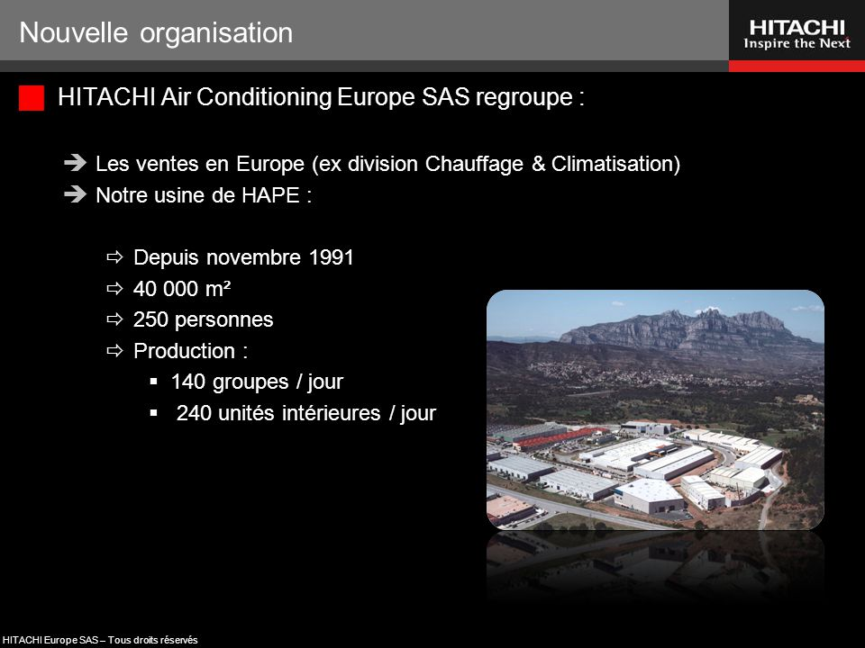HITACHI Europe SAS – Tous droits réservés Nouvelle organisation  HITACHI Air Conditioning Europe SAS, les avantages :  Une nouvelle chaine de décisions plus courte  Une meilleure communication avec notre principale usine  Une usine réellement dédiée au marché Européen  Une logistique améliorée  De nouveaux investissements (juillet 2012) :  Une nouvelle chaine de production des SET FREE  Un nouveau laboratoire d'essais (le 4 ème ) dédié SET FREE  Coût total = 3,5 M€.
