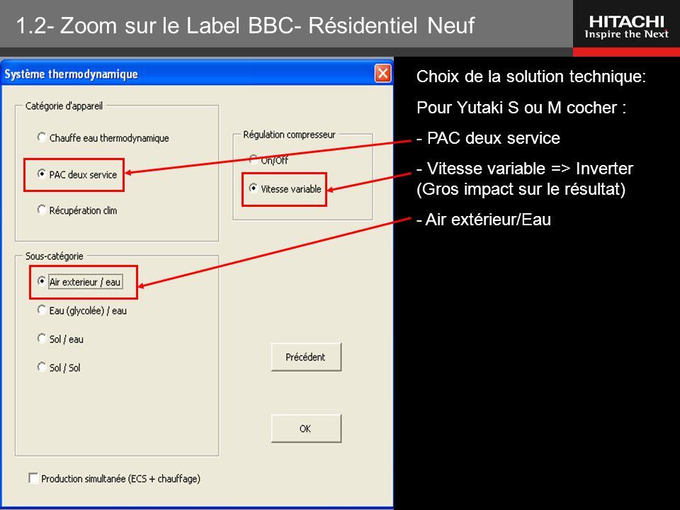 HITACHI Europe SAS – Tous droits réservés Choix de la solution technique: Pour Yutaki S ou M cocher : - PAC deux service - Vitesse variable => Inverte