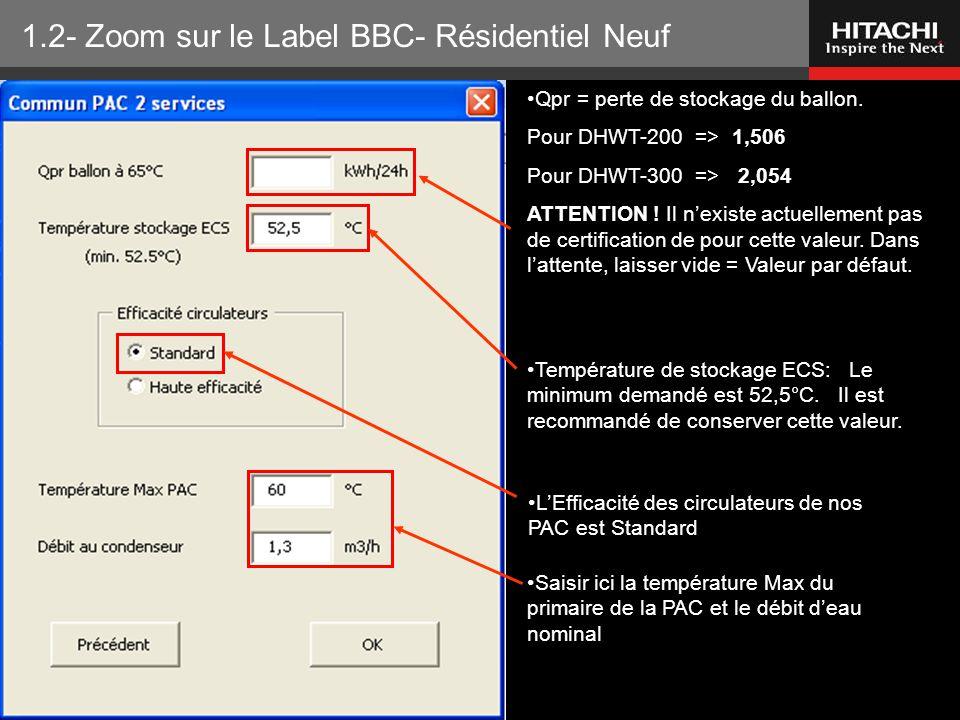 HITACHI Europe SAS – Tous droits réservés Qpr = perte de stockage du ballon. Pour DHWT-200 => 1,506 Pour DHWT-300 => 2,054 ATTENTION ! Il n'existe act