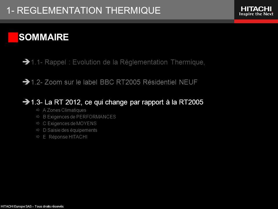 HITACHI Europe SAS – Tous droits réservés 1- REGLEMENTATION THERMIQUE  SOMMAIRE  1.1- Rappel : Evolution de la Réglementation Thermique,  1.2- Zoom